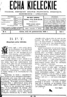 Echa Kieleckie. Tygodnik poświęcony sprawom politycznym, ekonomicznym i literaturze, 1906, R.1, nr 7