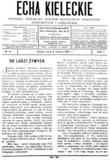Echa Kieleckie. Tygodnik poświęcony sprawom politycznym, ekonomicznym i literaturze, 1907, R.2, nr 4
