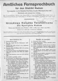 Amtliches Fernsprechbuch fur den Distrikt Radom cz. 2
