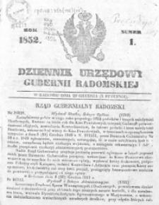 Dziennik Urzędowy Gubernii Radomskiej 1852, nr 1-52