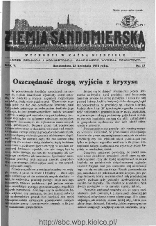 Ziemia Sandomierska. Czasopismo samorządowo-społeczne: tygodnik, 1933, nr 17