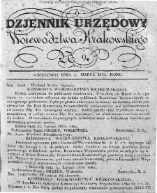 Dziennik Rządowy Województwa Krakowskiego 1834, nr 9