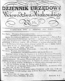 Dziennik Rządowy Województwa Krakowskiego 1834, nr 33
