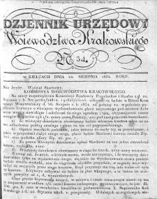 Dziennik Rządowy Województwa Krakowskiego 1834, nr 34