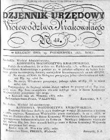 Dziennik Rządowy Województwa Krakowskiego 1834, nr 42