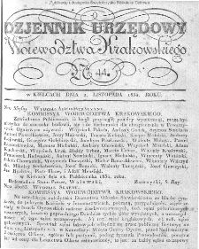 Dziennik Rządowy Województwa Krakowskiego 1834, nr 44