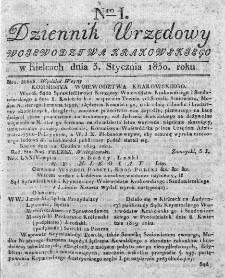 Dziennik Rządowy Województwa Krakowskiego 1830, nr 1