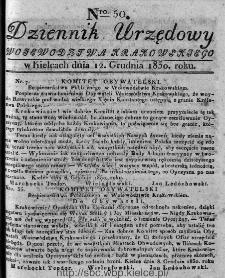 Dziennik Rządowy Województwa Krakowskiego 1830, nr 50