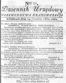 Dziennik Rządowy Województwa Krakowskiego 1830, nr 51