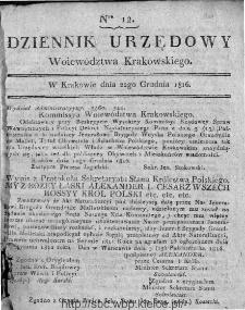 Dziennik Rządowy Województwa Krakowskiego 1816, nr 12