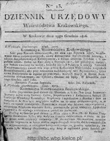 Dziennik Rządowy Województwa Krakowskiego 1816, nr 13