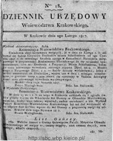 Dziennik Rządowy Województwa Krakowskiego 1816, nr 18