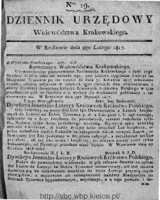 Dziennik Rządowy Województwa Krakowskiego 1816, nr 19