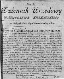 Dziennik Rządowy Województwa Krakowskiego 1819, nr 39