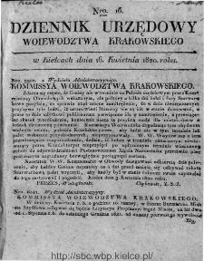 Dziennik Rządowy Województwa Krakowskiego 1820, nr 16