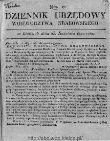 Dziennik Rządowy Województwa Krakowskiego 1820, nr 17