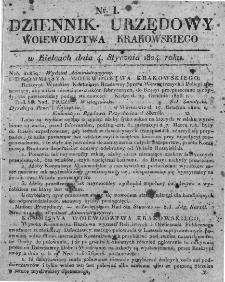 Dziennik Rządowy Województwa Krakowskiego 1824, nr 1
