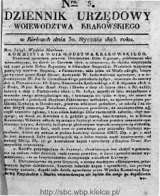 Dziennik Rządowy Województwa Krakowskiego 1825, nr 5