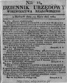 Dziennik Rządowy Województwa Krakowskiego 1825, nr 18