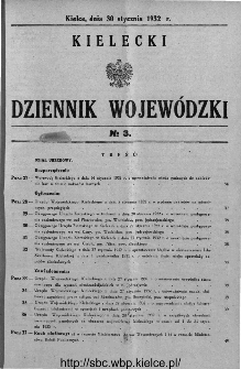 Kielecki Dziennik Wojewódzki 1932, nr 3