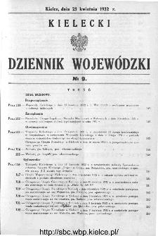 Kielecki Dziennik Wojewódzki 1932, nr 9