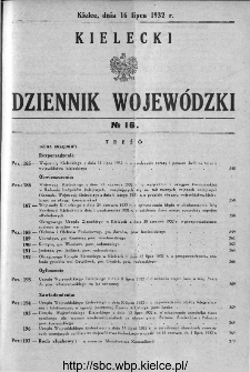 Kielecki Dziennik Wojewódzki 1932, nr 16