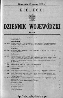 Kielecki Dziennik Wojewódzki 1932, nr 19