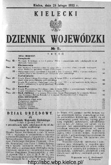 Kielecki Dziennik Wojewódzki 1933, nr 5
