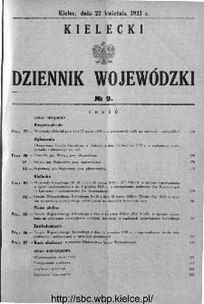 Kielecki Dziennik Wojewódzki 1933, nr 9