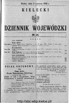 Kielecki Dziennik Wojewódzki 1933, nr 14