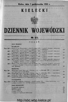 Kielecki Dziennik Wojewódzki 1933, nr 25