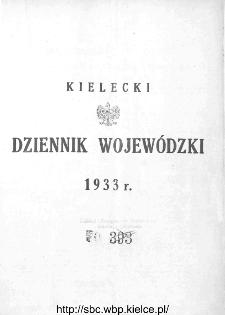Skorowidz alfabetyczny do Kieleckiego Dziennika Wojewódzkiego, rok 1933, nr 1-34