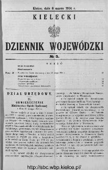 Kielecki Dziennik Wojewódzki 1934, nr 5