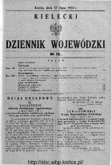 Kielecki Dziennik Wojewódzki 1935, nr 15