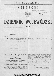 Kielecki Dziennik Wojewódzki 1936, nr 1