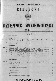 Kielecki Dziennik Wojewódzki 1937, nr 8