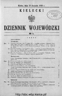 Kielecki Dziennik Wojewódzki 1938, nr 1