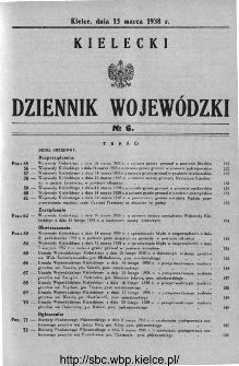 Kielecki Dziennik Wojewódzki 1938, nr 6