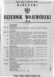 Kielecki Dziennik Wojewódzki 1938, nr 8