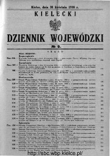 Kielecki Dziennik Wojewódzki 1938, nr 9