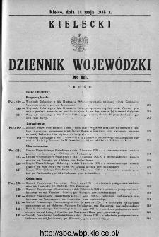 Kielecki Dziennik Wojewódzki 1938, nr 10