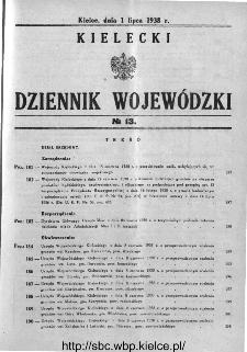 Kielecki Dziennik Wojewódzki 1938, nr 13