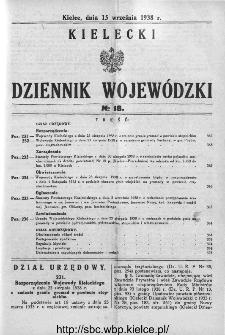 Kielecki Dziennik Wojewódzki 1938, nr 18