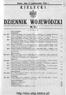 Kielecki Dziennik Wojewódzki 1938, nr 21