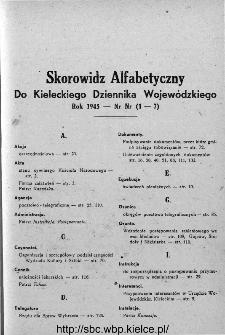 Skorowidz alfabetyczny do Kieleckiego Dziennika Wojewódzkiego, rok 1946, nr 1-7