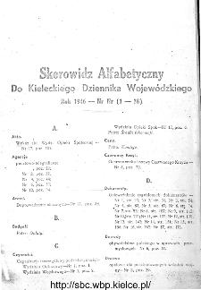 Skorowidz alfabetyczny do Kieleckiego Dziennika Wojewódzkiego, rok 1946, nr 1-18