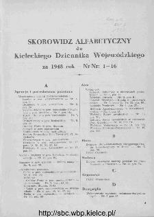Skorowidz alfabetyczny do Kieleckiego Dziennika Wojewódzkiego, rok 1948, nr 1-16