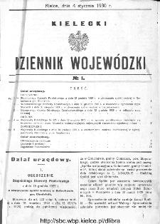 Kielecki Dziennik Wojewódzki 1930, nr 1