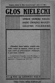 """Głos Kielecki : organ Okręgu Kieleckiego Związku Nauczycielstwa Polskiego : bezpłatny dodatek do """"Głosu Nauczycielskiego"""" 1935, R. 1, nr 5"""