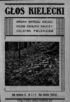 """Głos Kielecki : organ Okręgu Kieleckiego Związku Nauczycielstwa Polskiego : bezpłatny dodatek do """"Głosu Nauczycielskiego"""" 1936, R. 3, nr 3-4"""